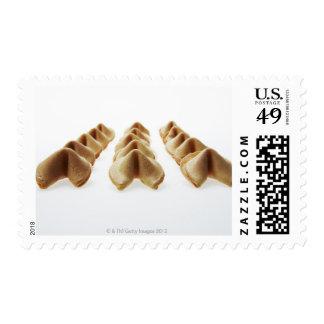 Galletas de la suerte en tres filas timbre postal