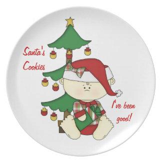 ¡Galletas de Santa Bebé-Santa! Plato De Comida