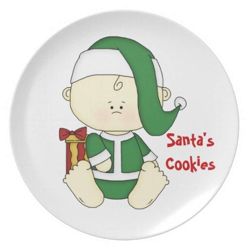 ¡Galletas de Santa Bebé-Santa! Plato De Cena