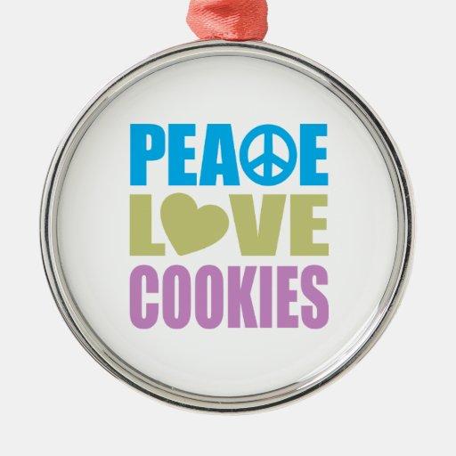Galletas del amor de la paz adorno navideño redondo de metal