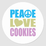 Galletas del amor de la paz etiqueta redonda