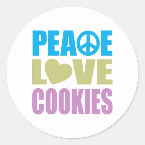 Galletas del amor de la paz pegatina redonda