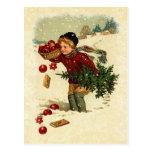 Galletas del árbol de navidad del muchacho del eje tarjetas postales