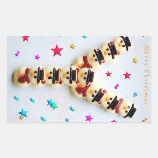 Galletas del chocolate de los muñecos de nieve del pegatina rectangular