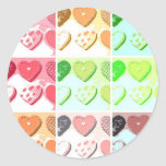 Galletas del corazón de la tarjeta del día de San Pegatinas Redondas