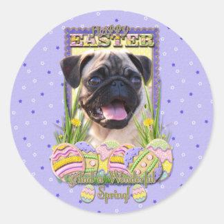Galletas del huevo de Pascua - barro amasado Pegatina Redonda