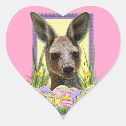 Galletas del huevo de Pascua - canguro Pegatina De Corazón Personalizadas