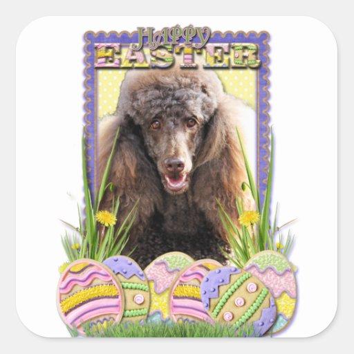 Galletas del huevo de Pascua - caniche - chocolate Pegatina Cuadrada