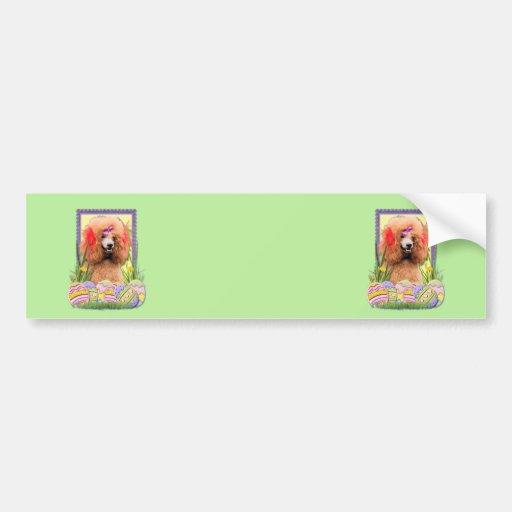 Galletas del huevo de Pascua - caniche - rojo Etiqueta De Parachoque
