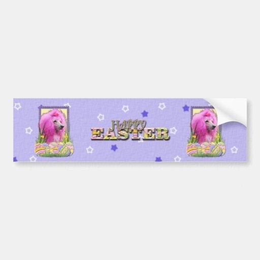 Galletas del huevo de Pascua - caniche - rosa Etiqueta De Parachoque