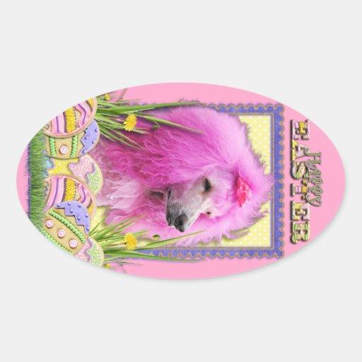 Galletas del huevo de Pascua - caniche - rosa Pegatina Ovalada