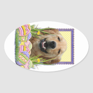 Galletas del huevo de Pascua - golden retriever Calcomanías De Óvales Personalizadas