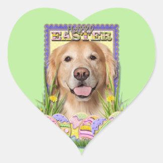 Galletas del huevo de Pascua - golden retriever - Pegatina En Forma De Corazón