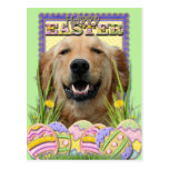 Galletas del huevo de Pascua - golden retriever Postal