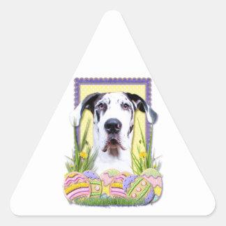 Galletas del huevo de Pascua - great dane - barón Pegatina Triangular