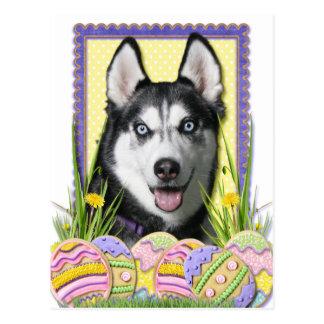 Galletas del huevo de Pascua - husky siberiano Postal