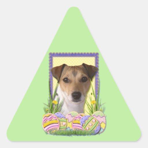 Galletas del huevo de Pascua - Jack Russell Pegatina Triangular