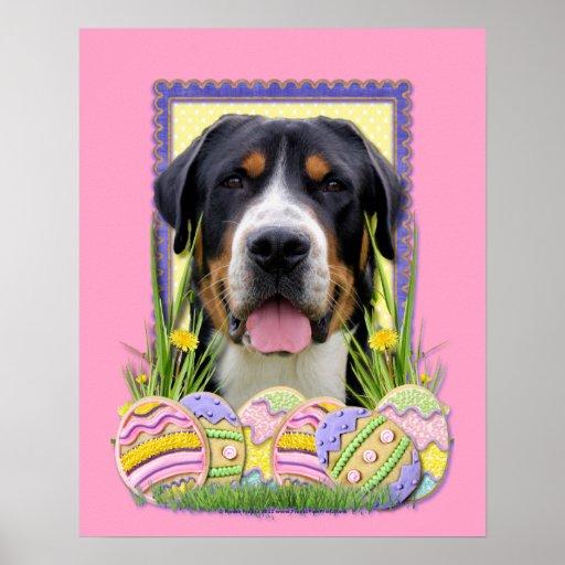 Galletas del huevo de Pascua - mayor perro suizo d Póster