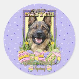 Galletas del huevo de Pascua - pastor alemán Pegatina Redonda