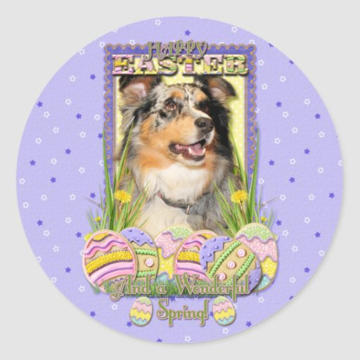 Galletas del huevo de Pascua - pastor australiano Pegatina Redonda
