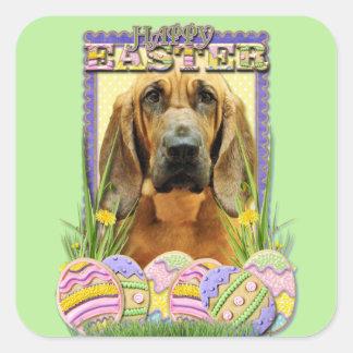 Galletas del huevo de Pascua - sabueso - penique Calcomanías Cuadradass Personalizadas