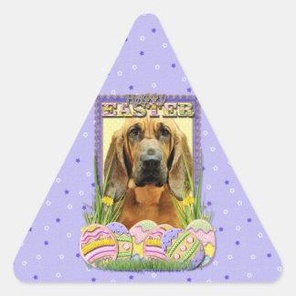 Galletas del huevo de Pascua - sabueso - penique Pegatinas Trianguloes
