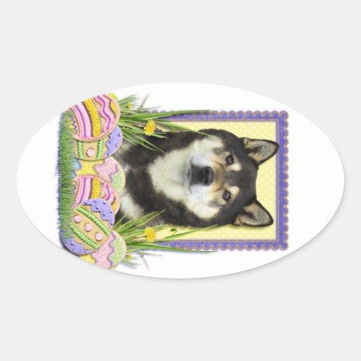 Galletas del huevo de Pascua - Shiba Inu Pegatina Ovalada