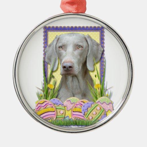 Galletas del huevo de Pascua - Weimaraner Adorno Redondo Plateado