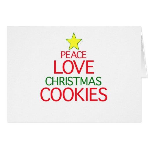 Galletas del navidad del amor de la paz felicitaciones