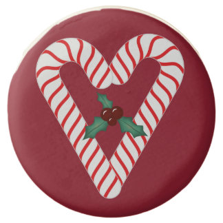 Galletas del navidad del corazón del bastón de