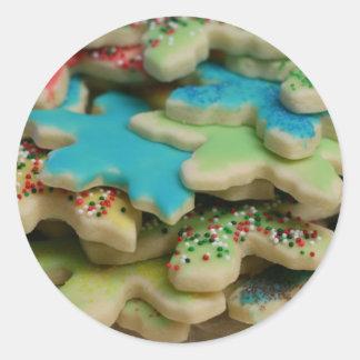 Galletas del navidad pegatina redonda