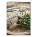 Galletas del navidad y de Jánuca en la placa, Tarjeta De Felicitación