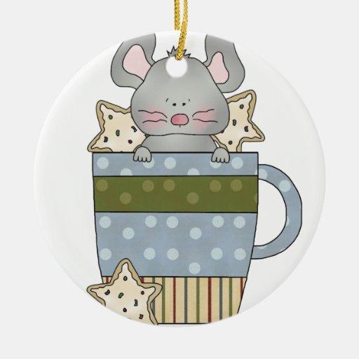 galletas del navidad y taza de la taza del ratón adorno de navidad