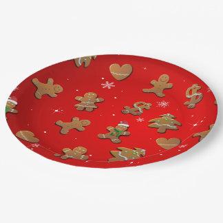 Galletas del pan de jengibre plato de papel de 9 pulgadas