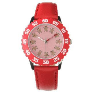 Galletas del pan de jengibre rojas reloj de mano