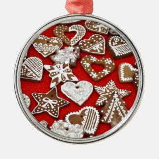 Galletas del pan del jengibre adorno navideño redondo de metal