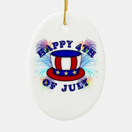 Galletas felices del 4 de julio adorno navideño ovalado de cerámica