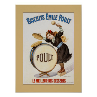 Galletas francesas del vintage, niña en el bombo impresiones