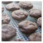 Galletas Gluten-libres recientemente cocidas del Azulejo Cuadrado Grande