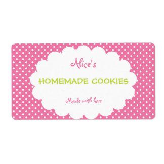 Galletas hechas en casa personalizadas lunar rosad etiquetas de envío