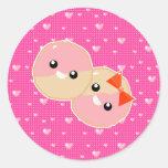 Galletas heladas rosa lindo de Kawaii Etiquetas Redondas