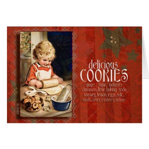 galletas, invitación, vintage tarjeta de felicitación