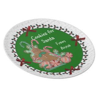 Galletas para la placa de Santa con el nombre del  Platos De Comidas