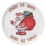 Galletas para la placa del navidad de Santa Plato