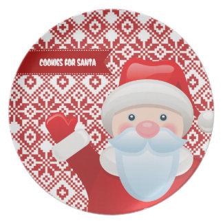Galletas para Santa. Placa del regalo del navidad Platos