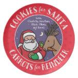 Galletas para Santa, reno de las zanahorias, Plato De Cena