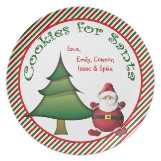 Galletas personalizadas para la placa del navidad platos para fiestas