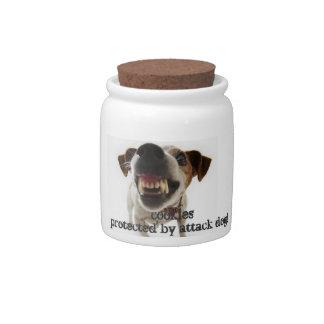 galletas protegidas por el perro de ataque jarras para caramelos