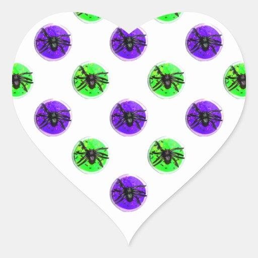 Galletas púrpuras y verdes de la araña de Hallowee Calcomania De Corazon Personalizadas