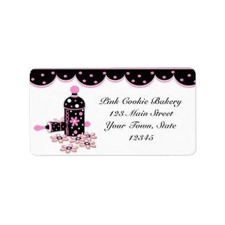Galletas rosadas etiqueta de la panadería etiqueta de dirección